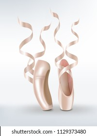 3d realistic vector ballet shoes, isolated illustration.