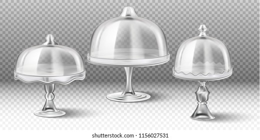 3d realistic vector collection of cake stand in  transparent glass isolated on transparent background.