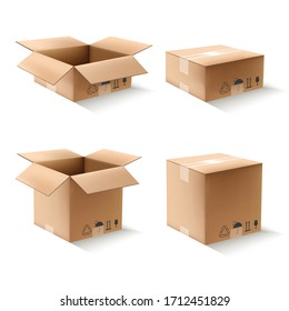 3d realistic vector collection of cartoon boxes.open and closed. Isolated on white background. Icon illustration.