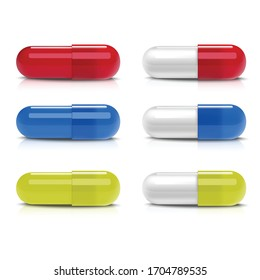 3d realistic vector collection of different colorful capsules. Icon isolated illustration on white background.