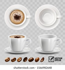 3d realistic vector cup of cappuccino or latte coffee with chocolate topping, top view, side view