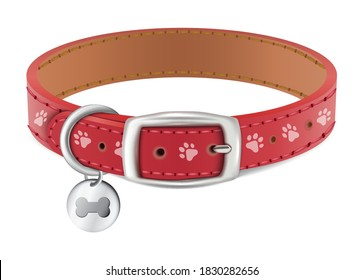 3d realistic vector dog or cat red collar with silver medal. Isolated on white background.