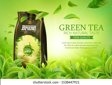3d realistic vector horizontal banner, nature, green tea garden background with tea packaging and flying leaves  for your design, ads