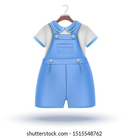 3d realistic vector icon: baby boy wardrobe blue overalls with white t-shirt for special occasion on the hanger.