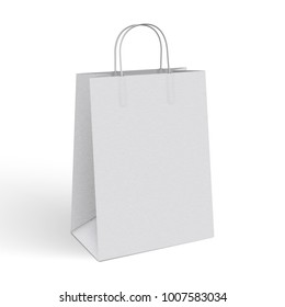 3d realistic vector illustration of white paper shopping bag. Blank Paper Bag Template Vector. Blank paper package with texture