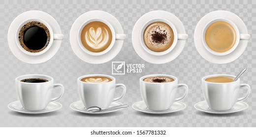 3d realistic vector isolated white cups of coffee with spoon, top and side view, cappuccino, americano, espresso, mocha, latte, cocoa