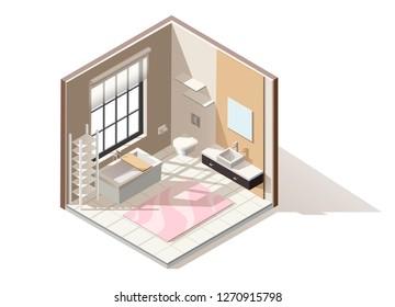 3d realistic vector isometric low poly bathroom interior.
