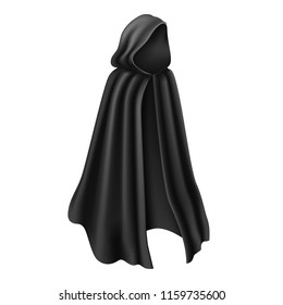 3d realistic vector long black cloak or cape with a hoodie for using as a costume for cartoon characters such as Halloween death, skeleton, vampire or magician.  Flowing long draped mantle.