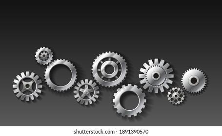 3d realistic vector metal gears of dark gray background.