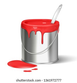 3d realistic vector paint bucket for renovation.