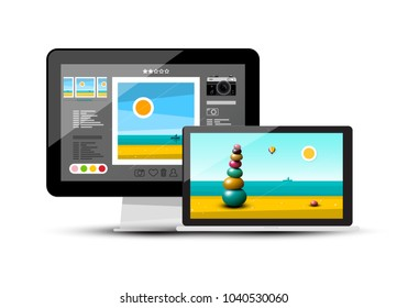 3D Realistic Vector PC Computer and Notebook - Laptop Illustration Isolated on White Background.
