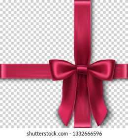 3d realistic vector red velvet bow on transparent background, template for you gift card, invitation or packaging.
