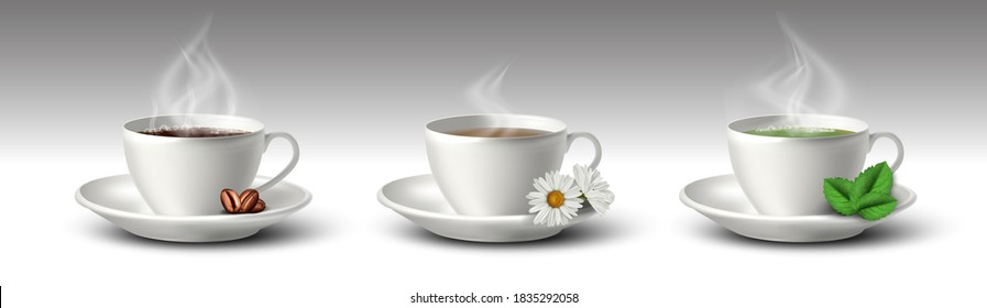3d realistic vector set of coffee, black and green tea white mugs or cups with coffee beans, camomile flower and tea leaves.