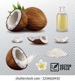 3d realistic vector set of elements (whole and half coconut, coconut chips, splash coconut milk or oil, coconut flower, oil bottle)
