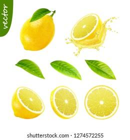 3d realistic vector set of elements (whole lemon with leaf , sliced lemon, splash lemon juice, leaves) editable handmade mesh
