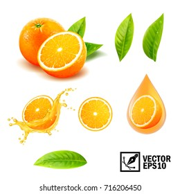 3d realistic vector set of elements ( whole orange, sliced orange, splash orange juice, drop orange oil, leaves). Editable handmade mesh