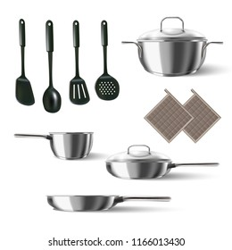 3d realistic vector set of kitchen appliances.  Flipper, strainer, spatula, ladle, pots with cover, pans.