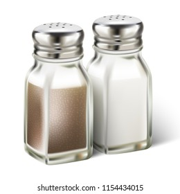 3d realistic vector set of salt and pepper in glass bottles.