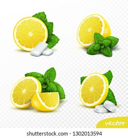 3d realistic vector set of whole and sliced lemons with fresh mint leaves, options with round pills and gum pads