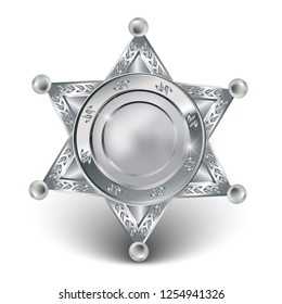 3d realistic vector silver badge of police forces or sheriff star.