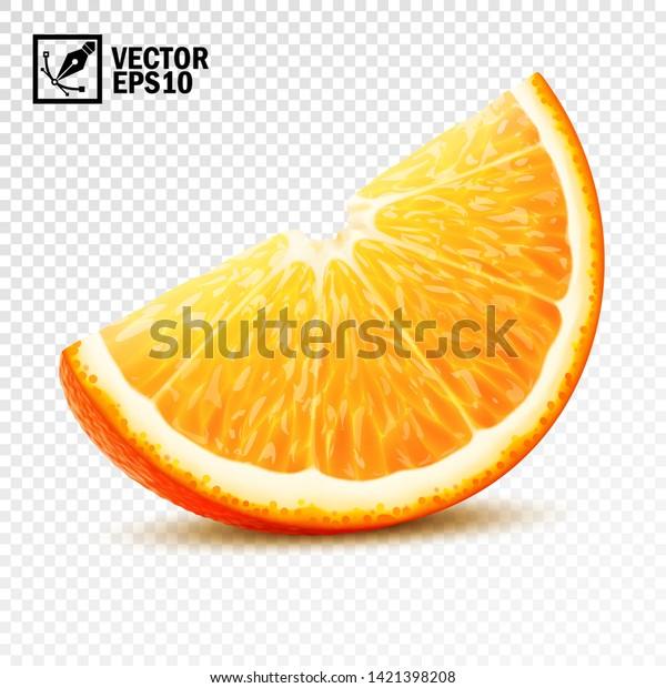 3d realistic vector slice of half an orange