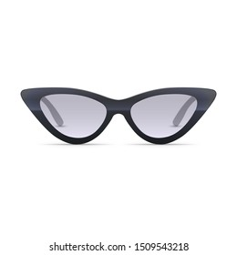 3D realistic vector sunglasses isolated on white. Cat eye shaped style. Trendy fashion accessory. Front view.