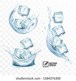 3d realistic vector transparent ice cubes in different spurts and splashes of water, vertical and horizontal