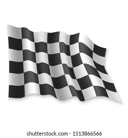 3D Realistic waving Race Flag on white background