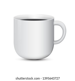 3d realistic white coffee cup on white background vector illustration