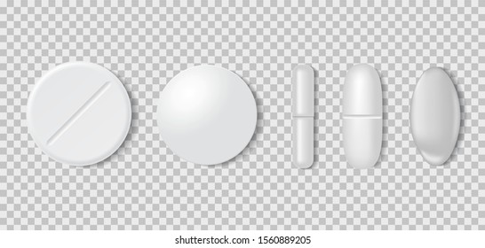 3d realistic white medical pill or tablet on transparent background. Set of medical round pill and capsules in mockup style. Medical and healthcare concept. vector illustration
