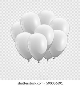 3d Realistic whitel Bunch of Birthday Balloons Flying for Party and Celebrations With Space for Message Isolated in White Background