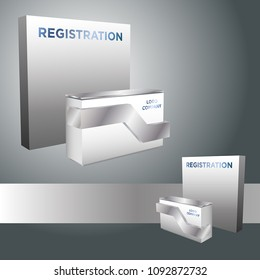 3d receptionist table with backdrop for registration exhibition modern style on isolated background. Vector editable.