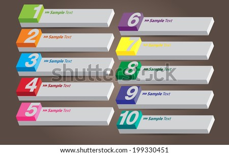 3 D Rectangular Number Text Box Template Stock Vector Royalty Free
