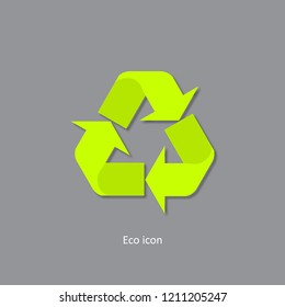 3d recycle icon. Isolated recycle design element in trendy paper art 3d style. Eco concept for print or info graphic. Recycle or reuse concept.