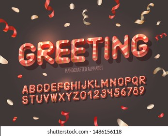 3D red alphabet with golden stripes for  New Year celepration and corporate party. Greeting phrase on a dark background with confetti and serpentine
