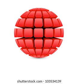 3d red ball vector
