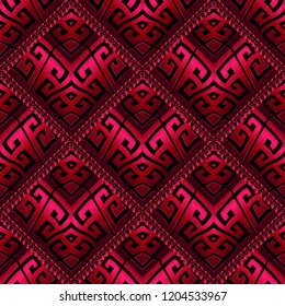 3d red and black modern greek vector seamless pattern. Surface ornamental abstract geometric background. Repeat trendy backdrop. 3d wallpaper. Greek key meanders tiled waffle ornament with wavy frames