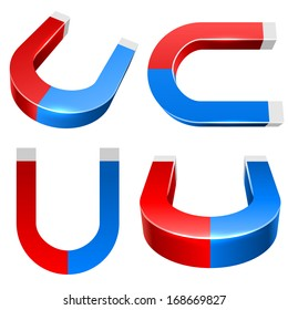 3D red and blue magnet vector illustration isolated on white background.