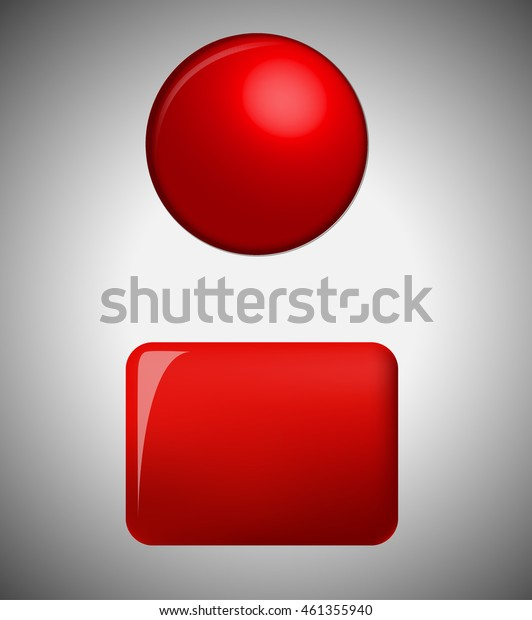 3d red button - round and rectangular for a website