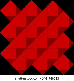 3D red geometric cube octahedron vector design on black background