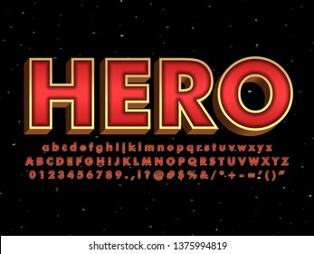3d red and gold super hero font with metallic gold effect, dark red metallic and gold outline, 3d extrude font for poster element design.