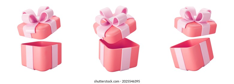 3d red open gift box set with pastel ribbon bow isolated on a white background. 3d render flying modern holiday open surprise box. Realistic vector icon for present, birthday or wedding banners