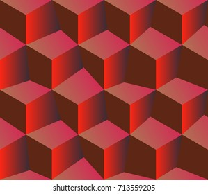 3d red pattern cubes. Red background