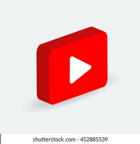 3d Red Play Vector Logo, JPG, JPEG, EPS Icon Button.youtube Flat Social Media Background Sign Download
