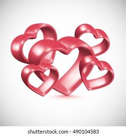 3D red shiny hearts, vector illustration