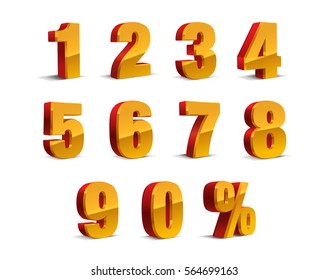 3D Red-Yellow-Golden Metallic Letter. 0, 1, 2, 3, 4, 5, 6, 7, 8, 9 numeral alphabet. Vector Isolated Number.