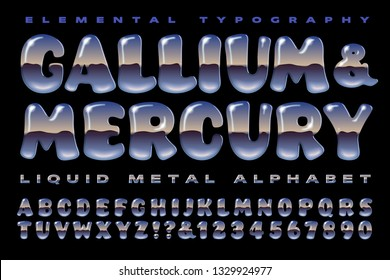 A 3d reflective alphabet in the style of liquid metal blobs