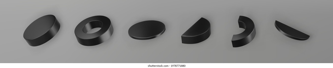 3d render black geometric shapes objects set isolated on grey background. Black realistic primitives - cylinder, pipe, ring with shadows. Abstract decorative vector figure for trendy design