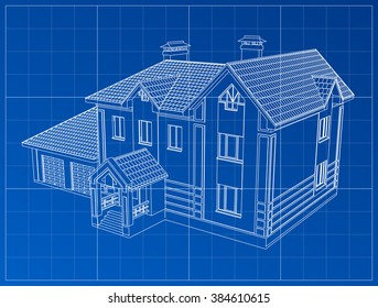 3D render of a building vector. The contours of houses on a blue drawing