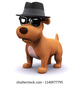 3d render of a dog in a trilby hat wearing sunglasses
